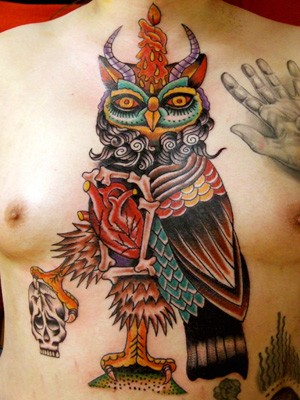 Tattoos - Owl Chest Tattoo - 52219