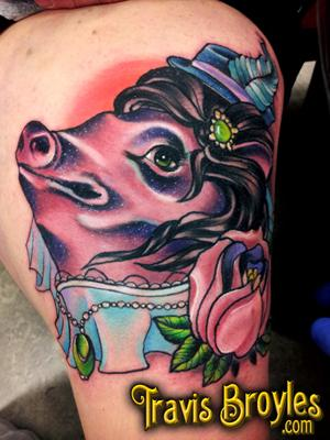 Fancy pig!  Tattoo Design Thumbnail