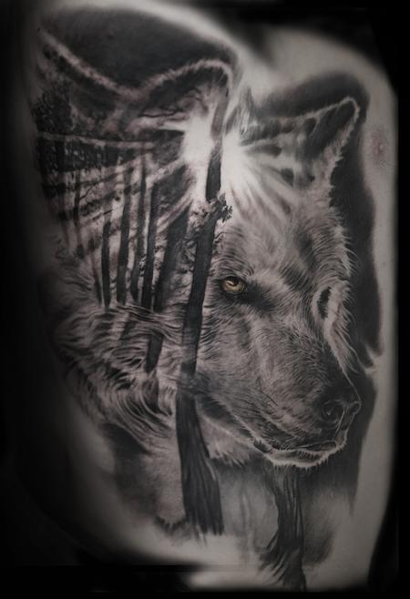 Tattoos - wolf forest morph - 129863