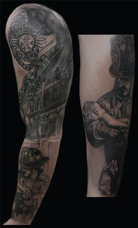 Tattoos - fire fighter sleeve - 124835