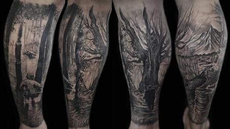 Tattoos - forest scene and memorial tattoo - 129869