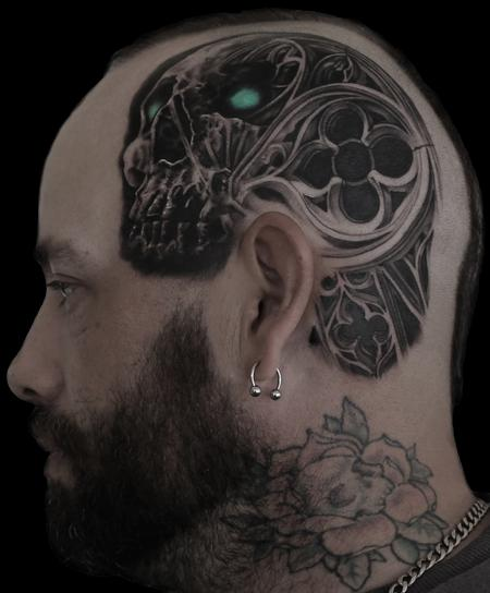 Tattoos - gothic skull inspired head piece - 129872