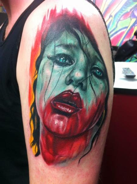 Color Zombie Girl Tattoo Design Thumbnail