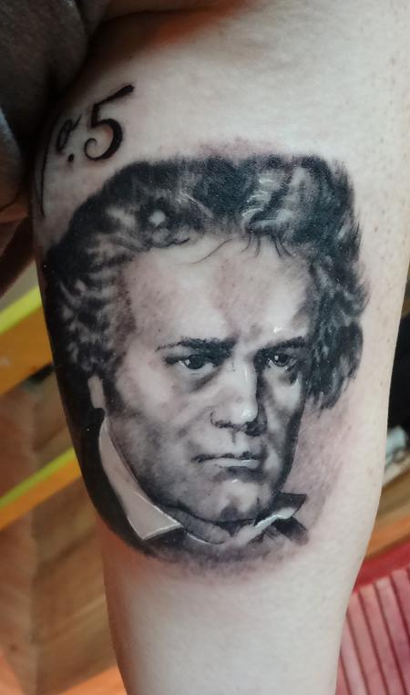 Beethoven Mini Portrait Tattoo Design Thumbnail