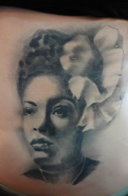 Tattoos - Billie Holiday 3 years healed - 75553