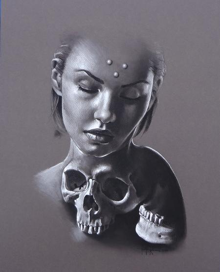 Tattoos - Charcoal on tinted paper - 86069