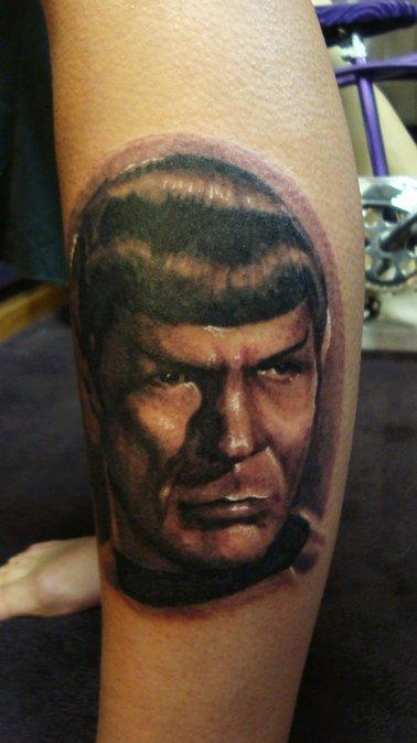 Tattoos - Spock Portrait Tattoo Lower Leg - 66256