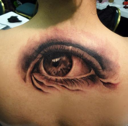 Tattoos - eyeball tattoo on back - 84433