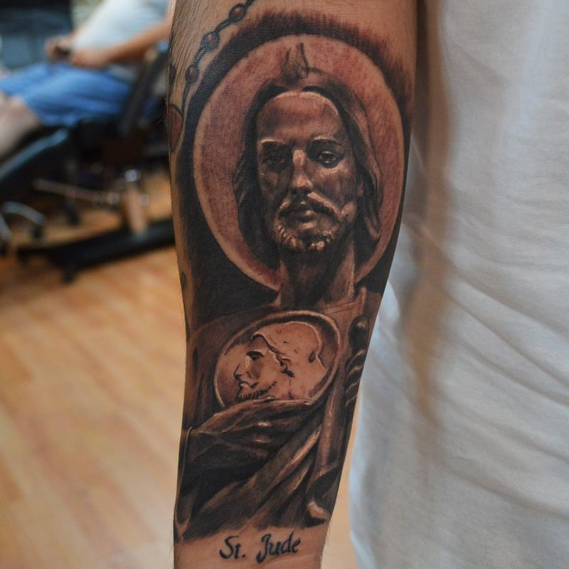 saint jude st jude on forearm by ian robert mckown tattoonow. Black Bedroom Furniture Sets. Home Design Ideas