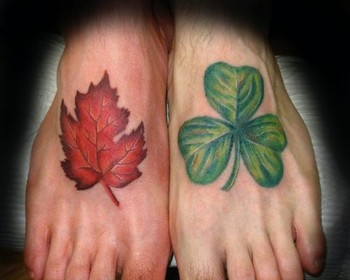 Maple leaf and shamrock heritage feet by stacey blanchard for Shamrock foot tattoo