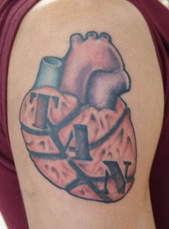 basketball tattoo designs on Tattoos - Connecticut - Stylized heart tattoo with basketball