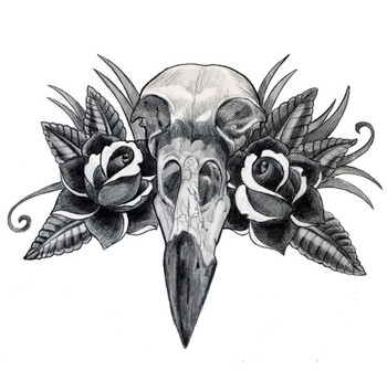 Art Galleries Blaze Schwaller Crow Skull Traditional Roses Drawing