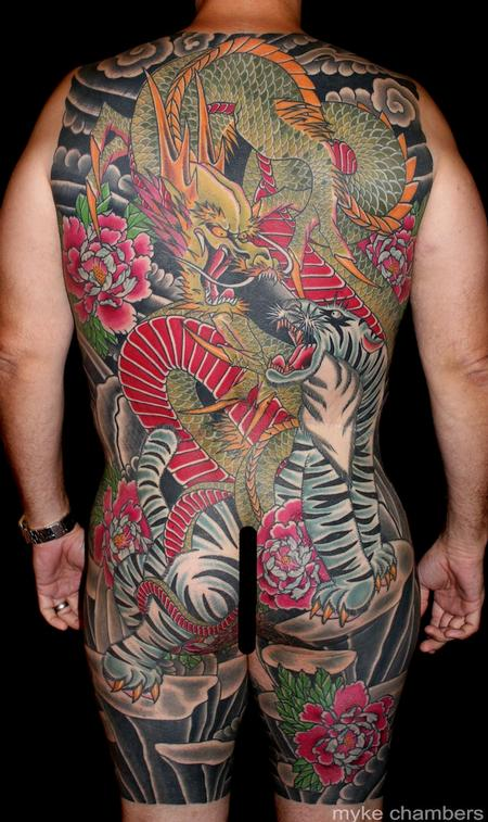 Tiger Dragon Back Piece Tattoo Design Thumbnail