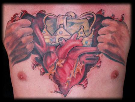 Real Heart Tattoo On Chest