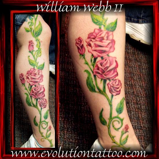 Rose vines by billy webb ii tattoonow for Evolution tattoo studio