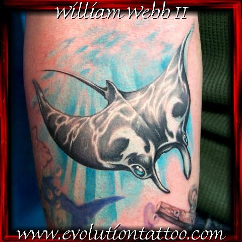 Mantaray by billy webb ii tattoonow for Evolution tattoo studio