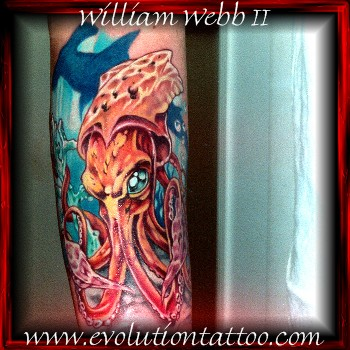 Squid by billy webb ii tattoonow for Evolution tattoo studio