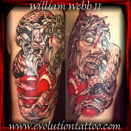 Jesus by billy webb ii tattoonow for Evolution tattoo studio