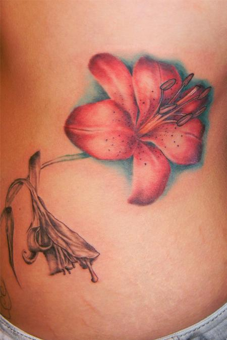 side piece tattoos. tiger lily side piece. Tattoos