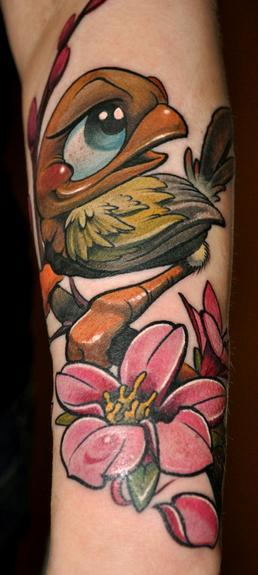 Birdie and flower tattoo Tattoo Design Thumbnail