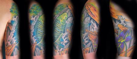 Koi + Lotus + Waterfalls Tattoo Design