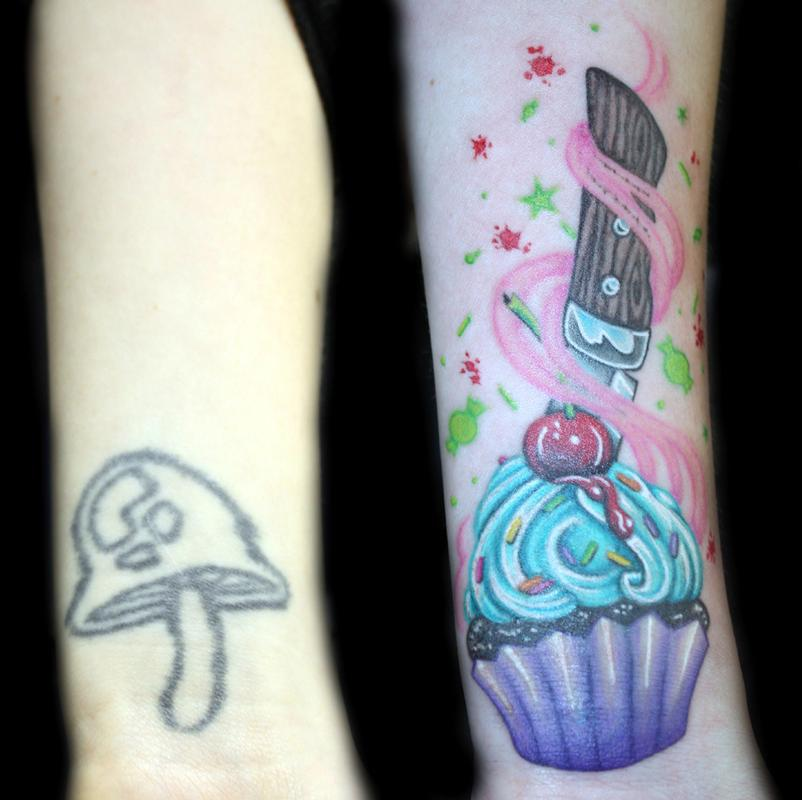 Color cupcake coverup by angela leaf tattoos for How to cover a wrist tattoo