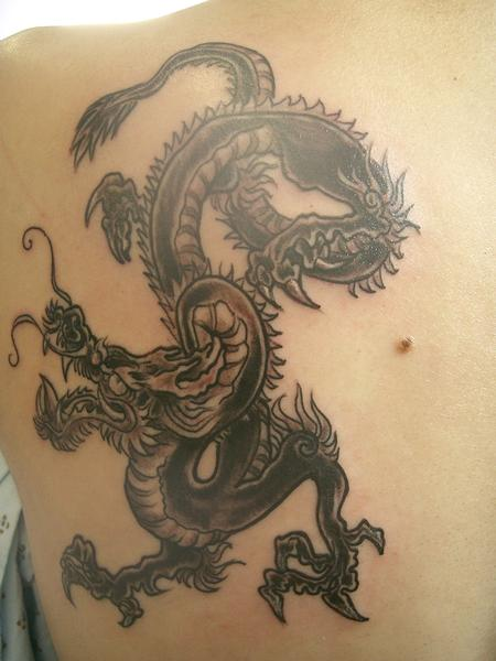Nando - Black and Grey Dragon Tattoo