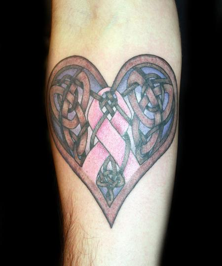 color celtic heart and breast cancer ribbon tattoo by