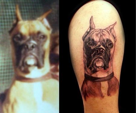 Angela Leaf - black and grey realistic boxer portrait tattoo