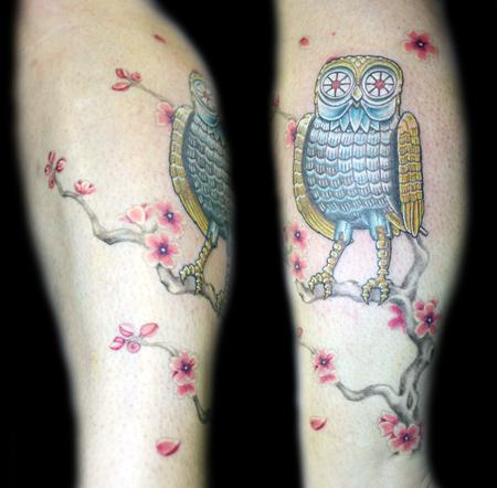 Angela Leaf - color clash of the titans owl tattoo