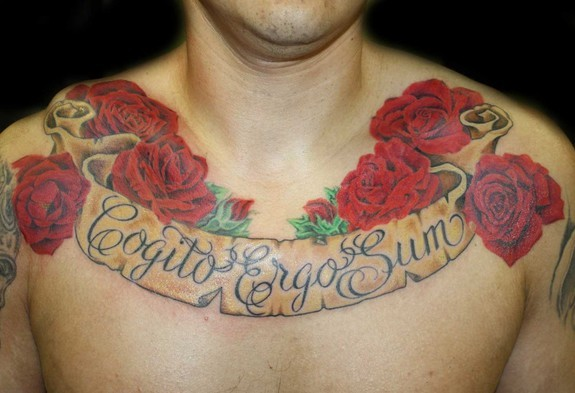 Angela Leaf - Realistic rose and banner chest tattoo
