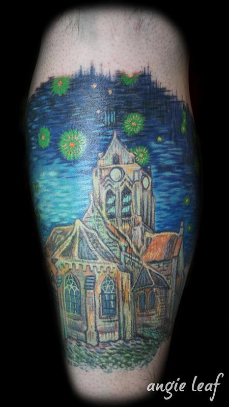 Angela Leaf - Van Gogh  Cathedral Color Tattoo