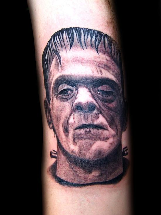 Tattoos - Frankenstein realistic black& grey portrait tattoo - 54626