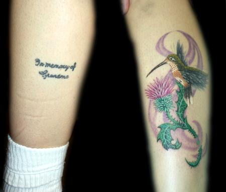 Angela Leaf - color realistic hummingbird coverup tattoo
