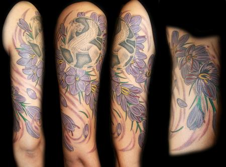 Angela Leaf - saffron flowers color half sleeve tattoo
