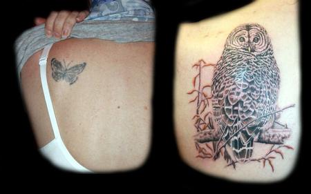 Tattoos - realistic owl cover up tattoo - 56695