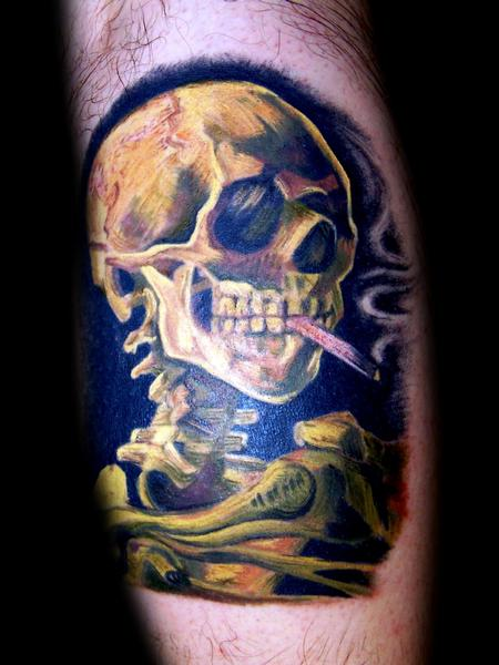 Tattoos - van gogh's skeleton with cigarette color tattoo - 58085