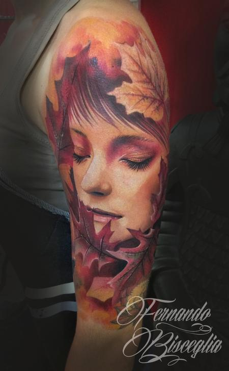 autumn woman Tattoo Design Thumbnail