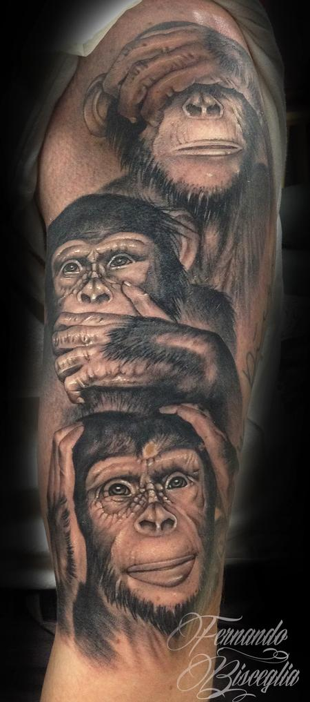 3 monkeys - not see, not speak,not hear Tattoo Design Thumbnail