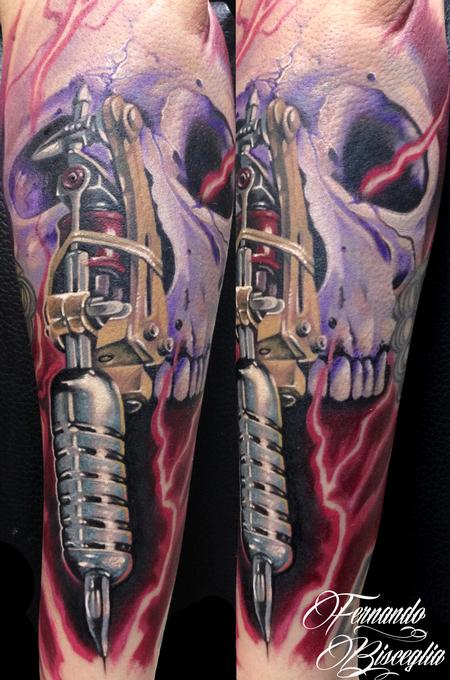 Tattoo Machine and Skull Tattoo Design Thumbnail