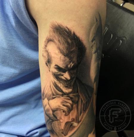 Arkham joker tattoo by francisco sanchez tattoos for The joker tattoo