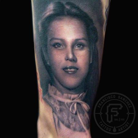 Francisco Sanchez - black and grey portrait tattoo