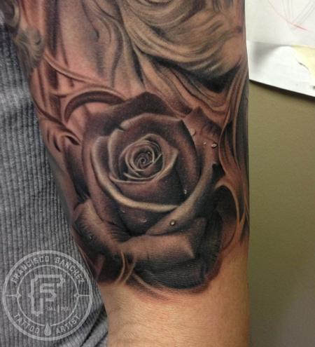 Black and grey rose tattoo by francisco sanchez tattoos for Black and gray rose tattoos