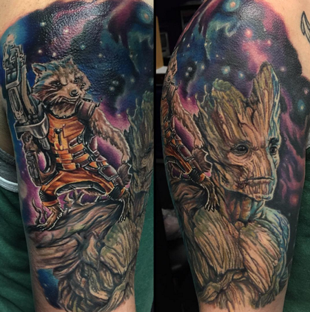 guardians of the galaxy color tattoo by josh bodwell tattoonow. Black Bedroom Furniture Sets. Home Design Ideas
