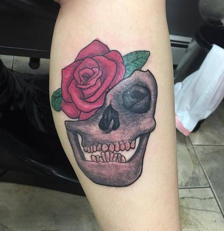 Tattoos - Skull with Rose - 115326