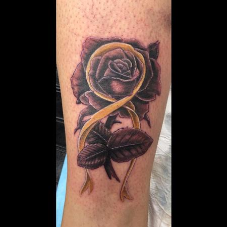 Tattoos - Rose/ Cancer awareness ribbon - 122068