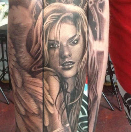 Teneile Napoli - Black and Grey Portrait Tattoo