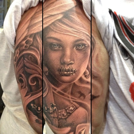 Teneile Napoli - Black and Grey Girl Tattoo