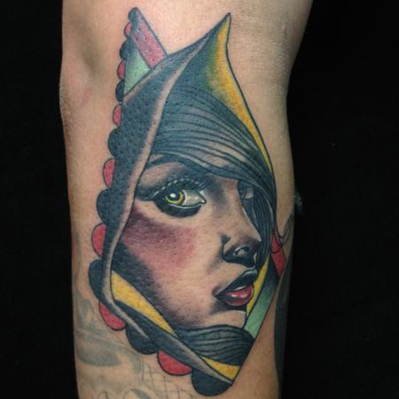 Gary Dunn - traditional color lady face tattoo, Gary Dunn Art Junkies Tattoo