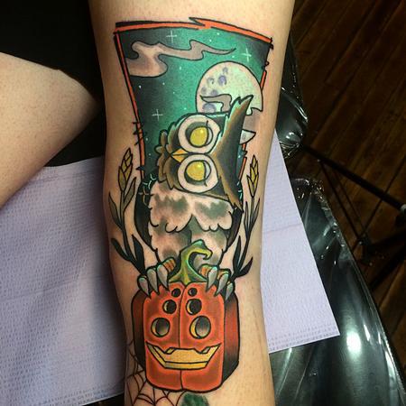 Spooky Lil Owl duder Tattoo Design